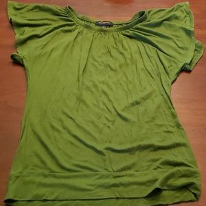 Banana Republic Top Flutter Sleeve Dr Green Small